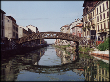 A view of the Navigli, the navigable canals of Milan