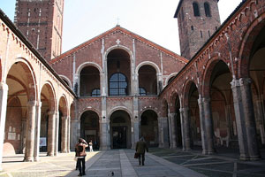 The Basilica of St. Ambrogio the example of Romanesque architecture in Milan