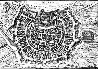The ancient city of Milan during the history